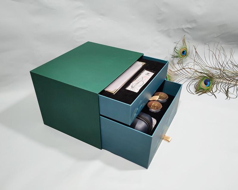 双层茶具苏绣礼盒抽屉盒