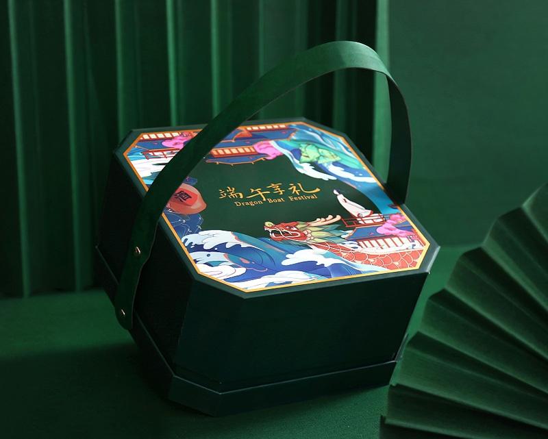 墨绿色的国风端午礼盒