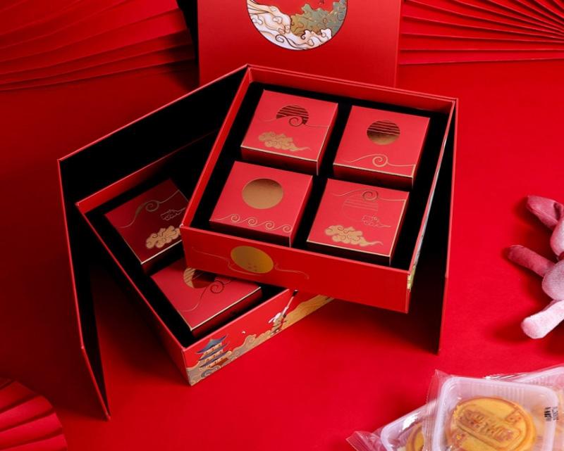 8粒装折叠月饼手提包装盒