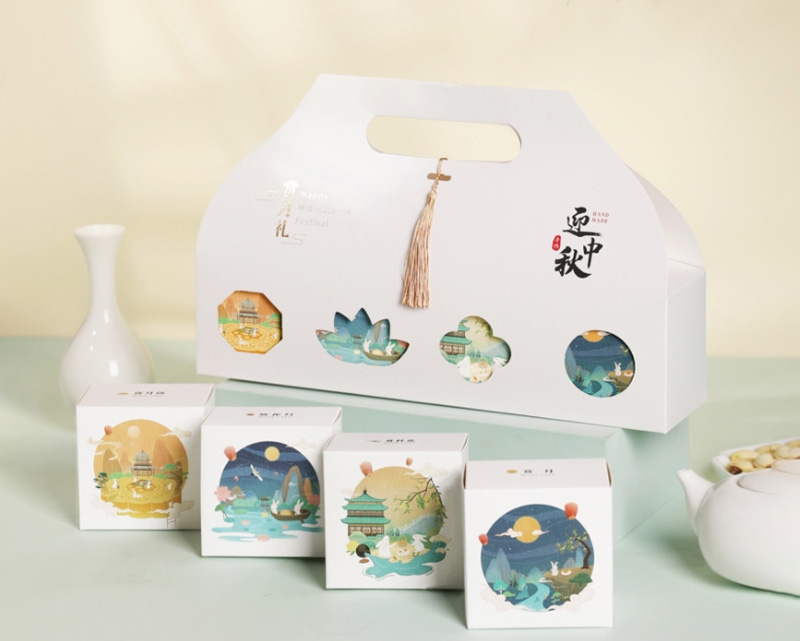 白色手提4粒装中秋月饼礼盒包装盒